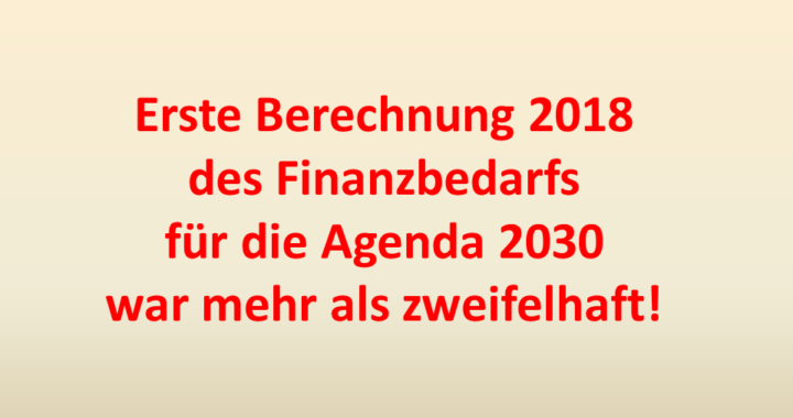 Finanzbedarf Agenda 2030