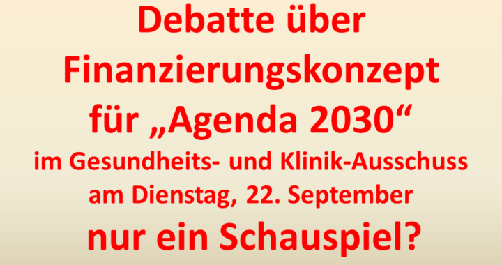 Debatte- Finanzierungskonzept Agenda 2030 Schauspiel