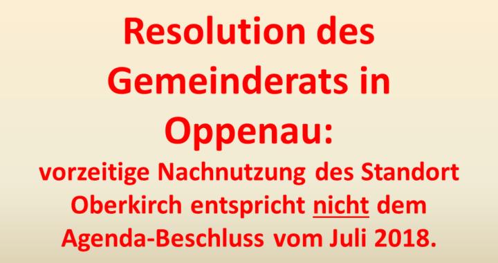 Resolution gegen Nachnutzung Oberkirch Gemeinderat Oppenau