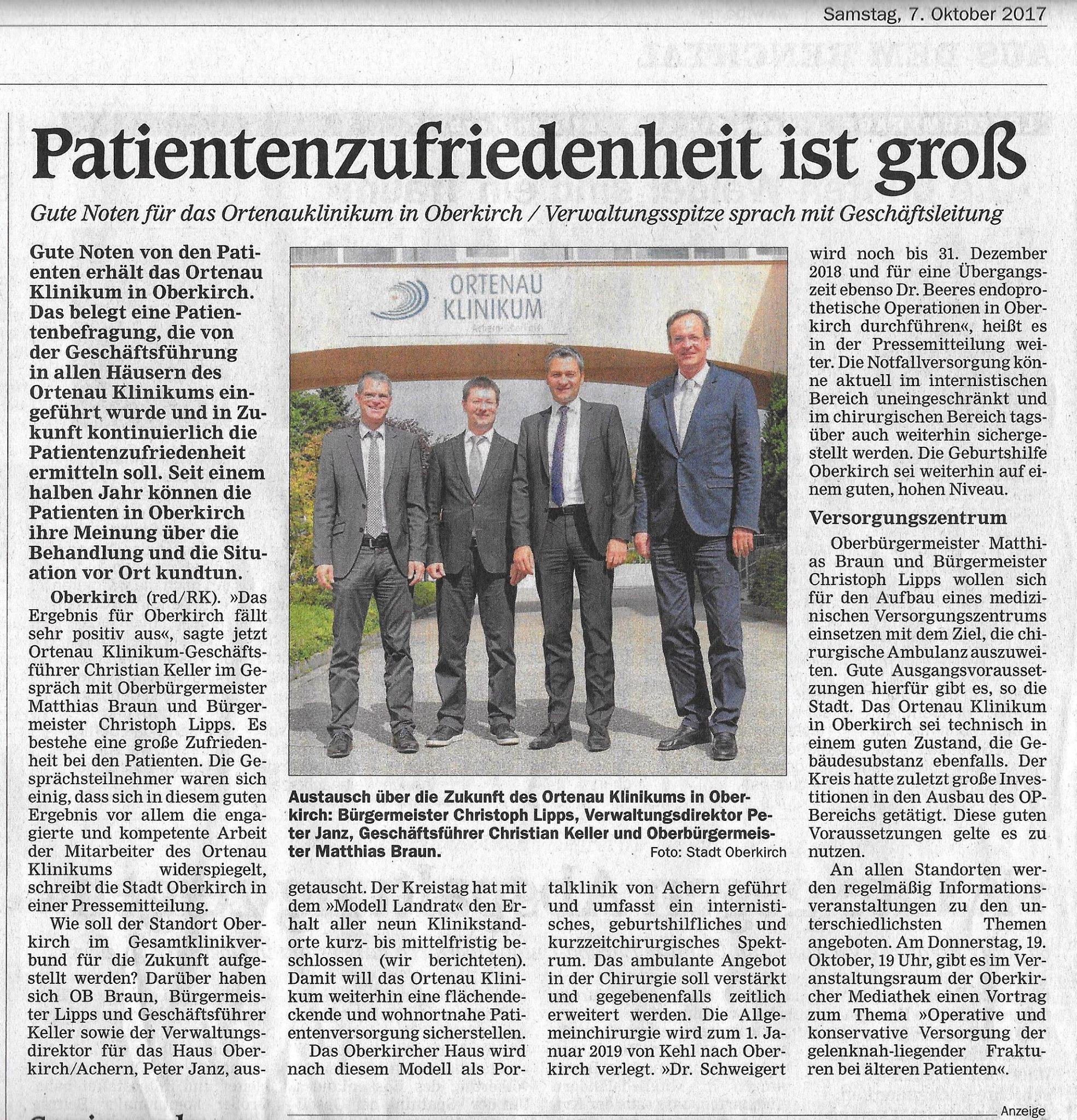 Krankenhaus Oberkirch Patientenzufriedenheit
