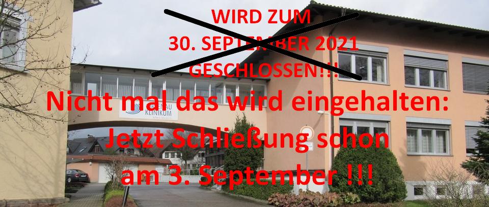 Vorzeitige Schließung des Oberkircher Krankenhauses auf 3. September 2021 vorgezogen